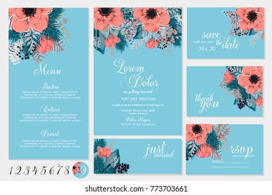 Red Poinsettia Anemone Christmas Party Invitation fir pine wreath