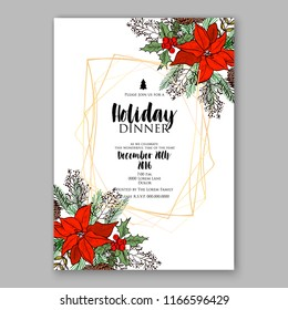 Red Poinsettia Christmas Party invitation or winter floral vector illustration background for holiday greeting card christmas dinner invitation template Fir red poinsettia flower pine branch xmas