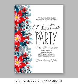 christmas party invitation template wreath fir stock vector royalty