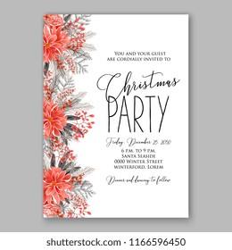 christmas party invitation holiday wreath poinsettia stock vector