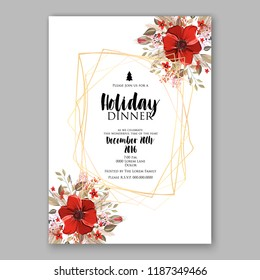 Red poinsettia Christmas party invitation