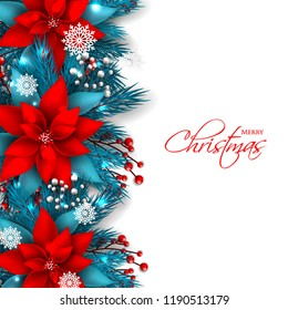 Red Poinsettia Christmas party invitation vector template greeting card with pine and fir branches red berry wreath in the snowflake, lights