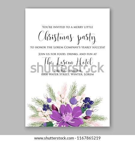 Red Poinsettia Christmas Party Invitation Sample Vector De Stock