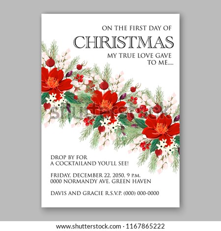 Red Poinsettia Christmas Party Invitation Sample Stock Vector