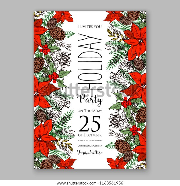 Christmas Christening.Red Poinsettia Christmas Party Invitation Flyer Stock Vector