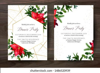Red poinsettia flowers, christmas greenery, mix of seasonal plants vector design frame. Gold polygonal line art with shimmer. Geometric card. Winter chic wedding invitation. Isolated and editable.