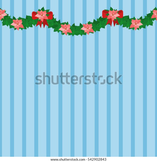 Red poinsettia garland on wall. Seamless garland. Christmas symbol. Flat vector stock illustration. Merry Christmas and Happy New Year Card
