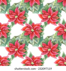 Red Poinsettia with Green Leaves seamless pattern on white background, vector illustration