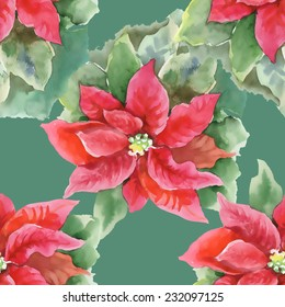 Red Poinsettia with Green Leaves seamless pattern on green background, vector illustration