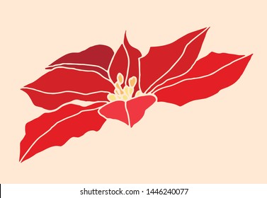 Red Poinsettia hand drawn vector illustration. Christmas poinsettia flower in linear style. Design element for poligraphy, design, invitations, greeting cards, quotes, posters and more.