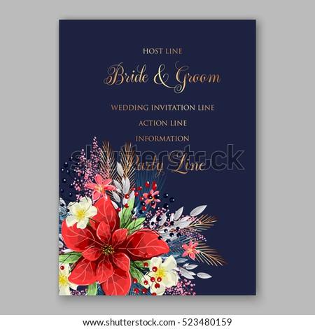 Red Poinsettia Wedding Invitation Sample Card Stock Vector Royalty