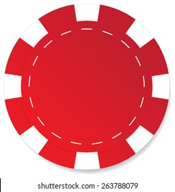 Red poker chip vector isolated