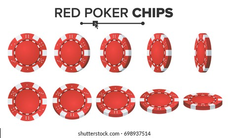 Red Poker Chips Vector. 3D Realistic Set. Plastic Poker  Chips Sign Isolated On White Background. Flip Different Angles. Jackpot, Success Illustration.