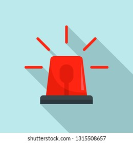 Red police flasher icon. Flat illustration of red police flasher vector icon for web design