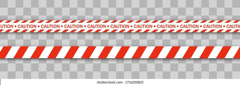 Red police line Warning tape, danger, caution tape. Quarantine zone due to coronavirus. Covid-19, quarantine, stop, do not cross, border closed. Red and white barricade. Danger signs. Vector.