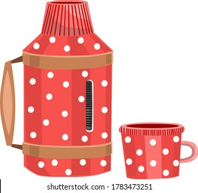 The red polka-dot thermos is open . Stylish thermos .Vector illustration on a white background.