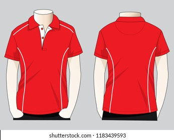 Red Polo Shirt Design : White Ribbed
