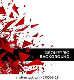 Red polygon background flyer template brochure triangle geometric design. Vector illustration EPS10