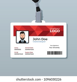 Red Polygon ID Card Template