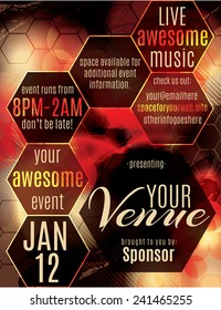 Red polygon themed flyer template layout for a night club event