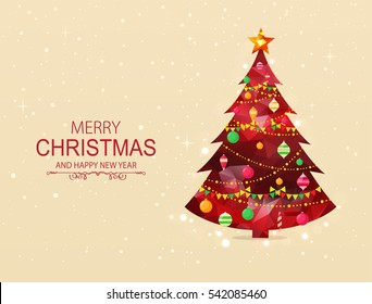 Red polygonal Christmas tree with decorations on bright snowy ba