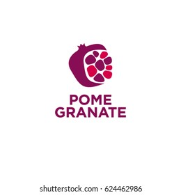 Red pomegranate logo. Pomegranate with grains on white background.