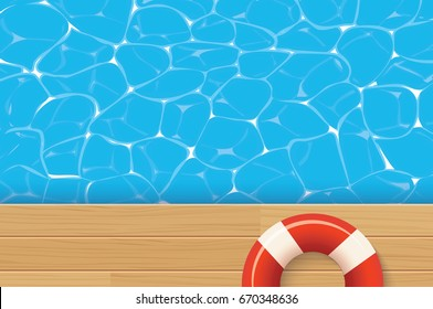 Red pool ring and swimming pool. Summer background.