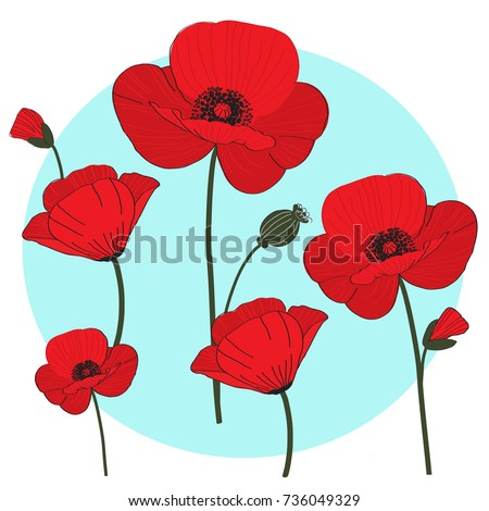 Red Poppies Colourful Cartoon Quirky Character Stock Vector Royalty