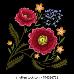 red poppies embroidery with wildflowers forget me not flowers, floral decoration element for fashion dress