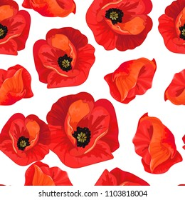 Red poppies on a white  background. Floral seamless pattern with big bright flowers.Summer vector illustration for print  textile,fabric,wrapping paper.