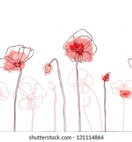 Red poppies on white background. Seamless Vector illustration