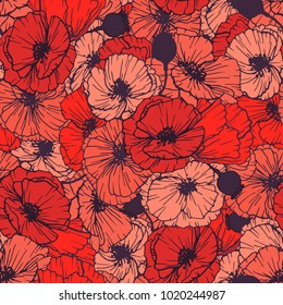 Red Poppies Seamless Pattern. Summer Flowers in Linear Engraving Style. Vector Floral Repeating Pattern for Cover , Print Design