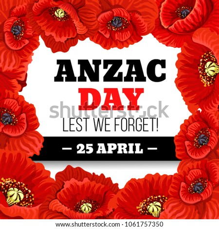 Red Poppy Flower Frame Anzac Day Stock Vector Royalty Free