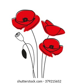 Red Poppy Flower isolated on white background. Vector red romantic poppy flowers and grass. red poppies. red flower.
