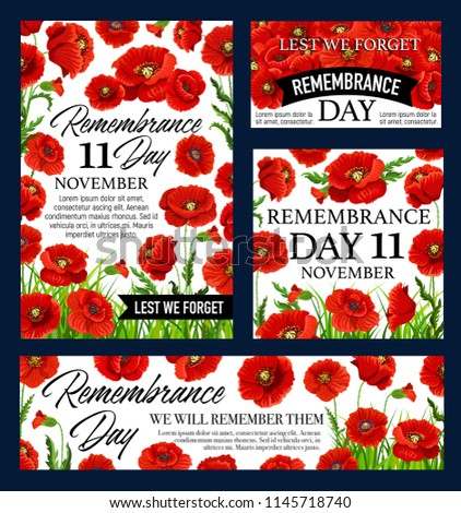 Red poppy flower remembrance day banner stock vector royalty free red poppy flower remembrance day banner with lest we forget black ribbon world war soldier mightylinksfo