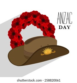 Red poppy flower wreath with Australian army hat for Anzac Day or Remembrance Armistice Day.