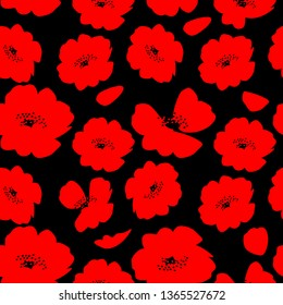 Red poppy flowers isolated on black background seamless pattern.