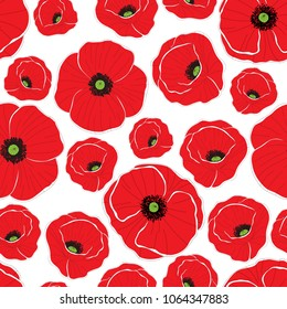 Red poppy flowers. Seamless background pattern. Can be used for textile, wallpapers, prints, bedclothes. Vector illustration.