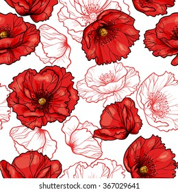 Red poppy on white background. Vector seamless pattern