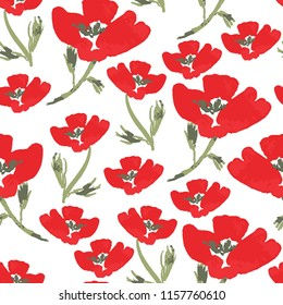 Red Poppy Pattern, Hand Painted Poppies, Vector Seamless Pattern, Floral Background
