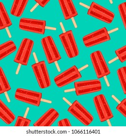 Red popsicles on teal background seamless pattern