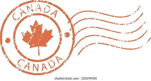 Red postal grunge stamp 'Canada'