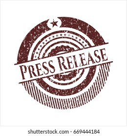 Red Press Release distressed rubber seal with grunge texture