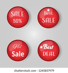 Red price tag balls vector illustration.