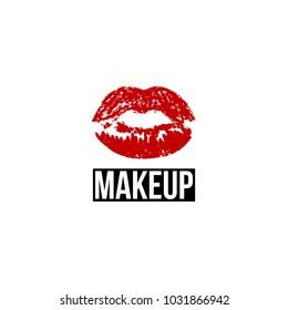 Red print lip, beauty logo template. Logo for make-up artist, beauty studio, make up studio or salon. Decorative cosmetic, makeup, beauty salon, stylist vector logo design template.