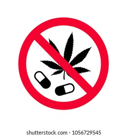 Red prohibition no drugs sign. Don't use narcotics sign. Do not use drugs forbidden sign.