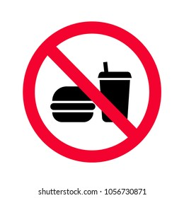 Red prohibition no food or drinks sign. No eating and drinking forbidden sing. No food or beverages icon.