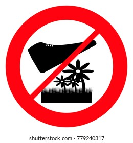 Red prohibition sign, do not walk on flowers and flower beds, vector
