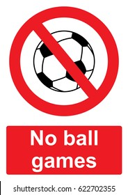Red Prohibition Sign isolated on a white background -  No ball games