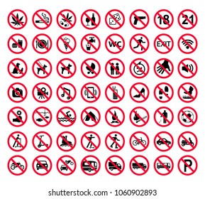 Red prohibition sign set. Forbidden signs collection,